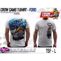 CROW CAMS WHITE T-SHIRT FORD FGX DRAG PRINT ON BACK & CROW ON FRONT - LARGE