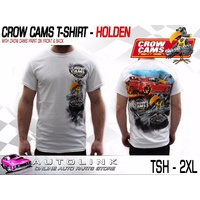 CROW CAMS WHITE T-SHIRT HOLDEN GTS DRAG PRINT ON BACK & CROW ON FRONT - 2XL