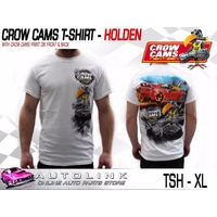 CROW CAMS WHITE T-SHIRT HOLDEN GTS DRAG PRINT ON BACK & CROW ON FRONT - XLARGE