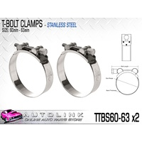 TRIDON T BOLT HOSE CLAMP - ALL STAINLESS STEEL 60 - 63mm TTBS60-63 x2