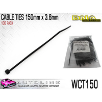 DNA CABLE TIES 150mm x 3.6mm UV RESISTANT BLACK - PACK OF 100 ( WCT150 )