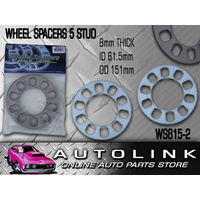 WHEEL SPACERS SUIT 5 STUD STEEL MAG RIM PAIR 8mm THICK UNIVERSAL HOLDEN FORD