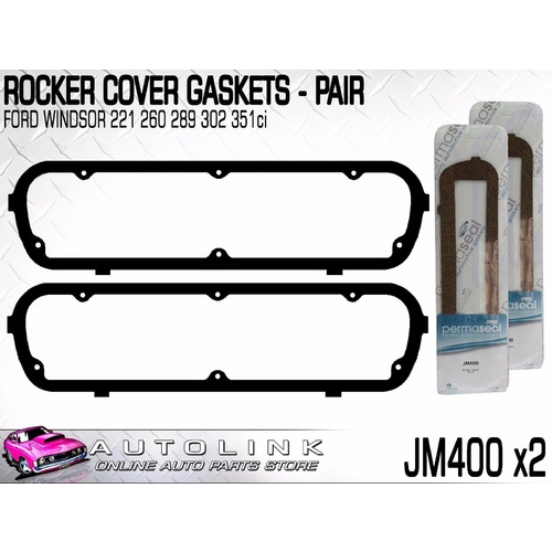 ROCKER COVER GASKETS SUIT FORD GALAXIE 289 WINDSOR V8 6/1964 - 12/1968 (x2)